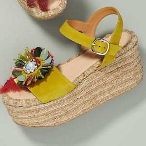 Anthropologie Embellished Platform Wedge Sandals
